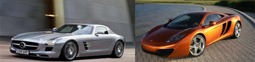 Mercedes-Benz SLS AMG Gullwing and McLaren MP4-12C